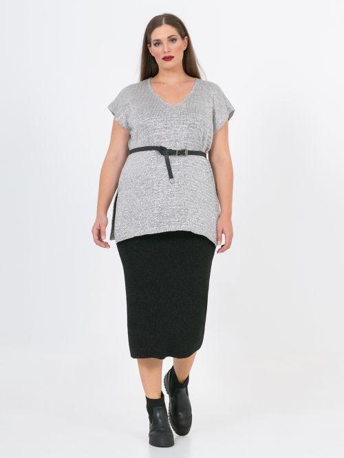 Lurex knit V sweater