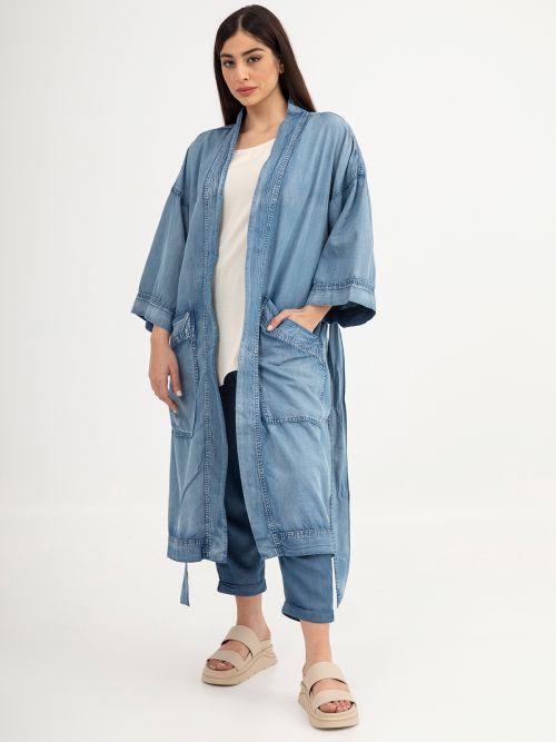 Lyocell kimono with pockets