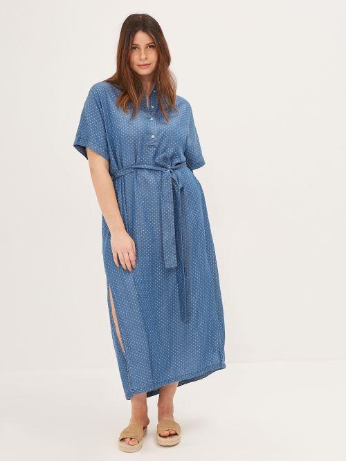 Lyocell polka dot printed shirt-dress