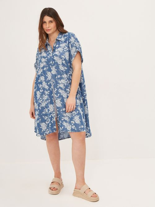 Lyocell shirt-dress in floral print