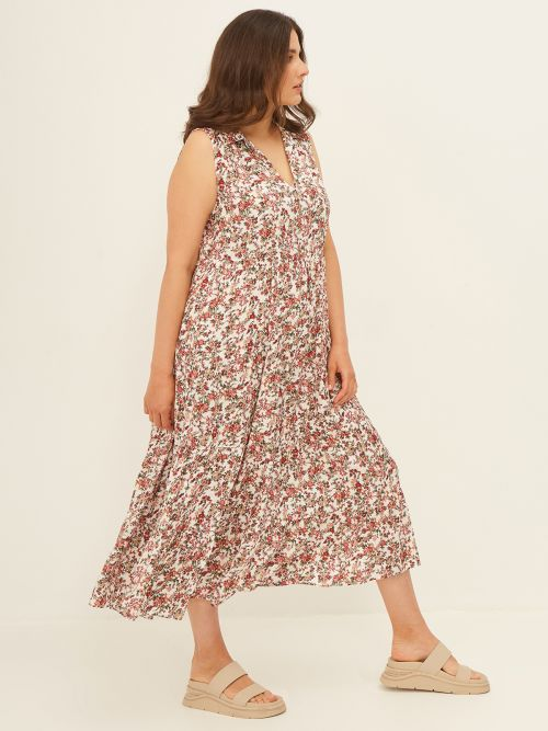 Maxi tiered dress in floral print