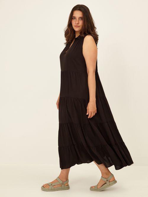 Αμάνικο maxi φόρεμα με βολάν