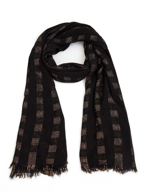 Metallic stripe viscose scarf