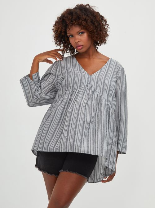 Cotton/viscose top in stripe