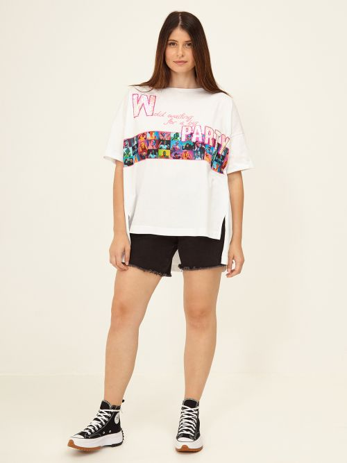 Sequin-detailed top with colorful print