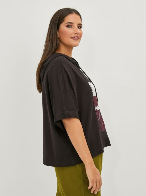 Cotton/modal hoodie t-shirt with print