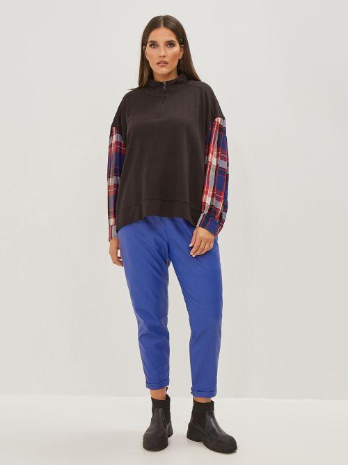 Μπλούζα φούτερ με καρό μανίκια