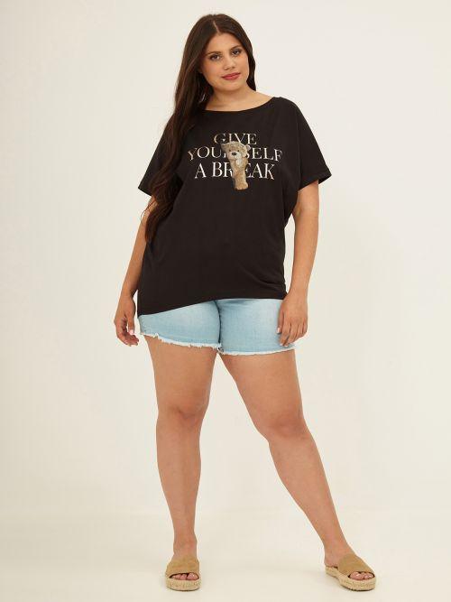 Μπλούζα t-shirt μαύρη με στάμπα