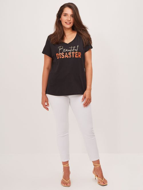 'Beautiful Disaster' cotton t-shirt in black