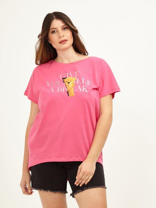 Μπλούζα t-shirt φούξια με στάμπα