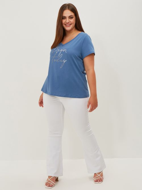 Cotton t-shirt 'Begin Today'