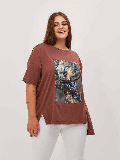 Μπλούζα βαμβακερή με απλικέ στάμπα
