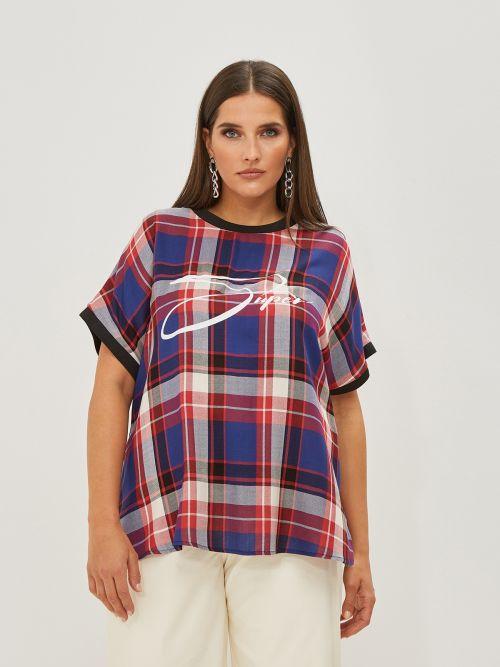 Μπλούζα με καρό σχέδιο & logo