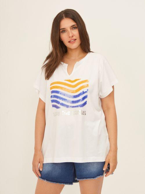 Sequin-detailed V-neck t-shirt