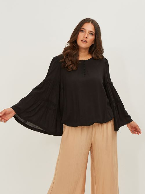 Viscose button-neck blouse
