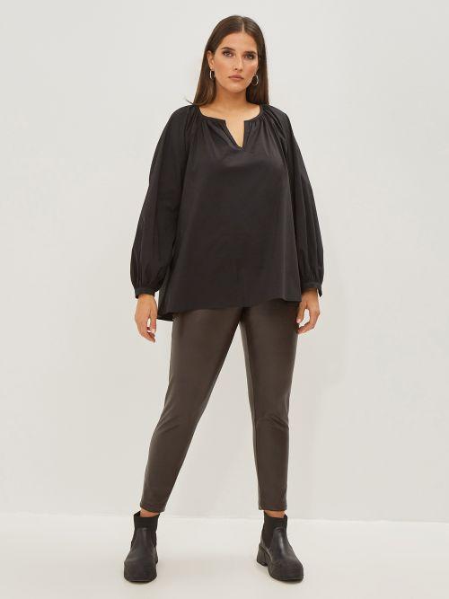Off-shoulder poplin blouse