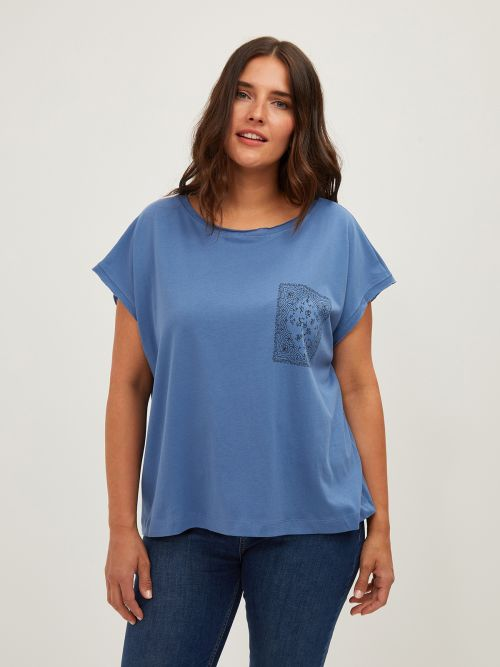 Cotton scoop neck t-shirt with print