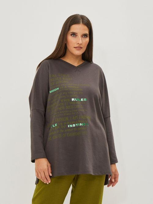 Cotton-blend V-neck sweat with print