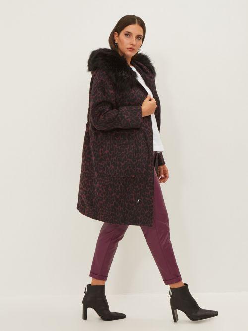 Animal print coat with detachable faux fur trim