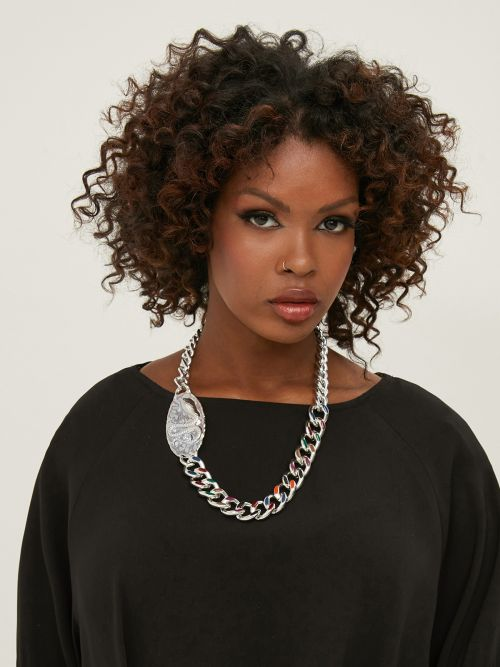Multicolor chain necklace with snake charm