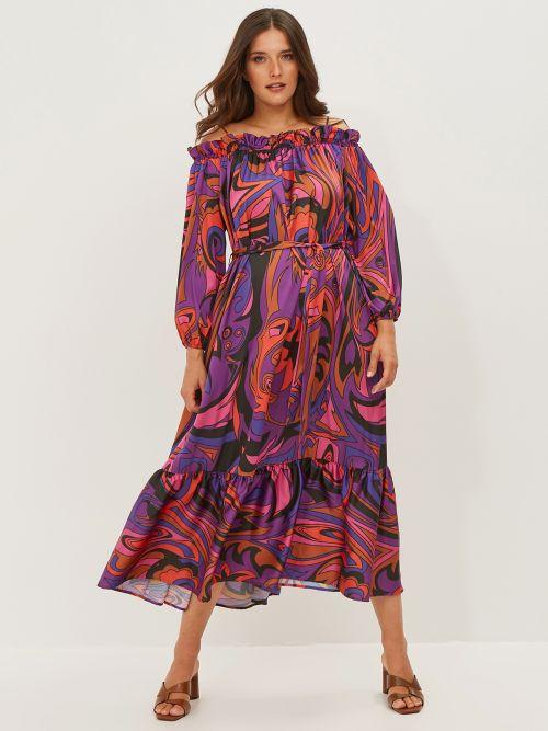 Off-shoulder satin dress in colorful print