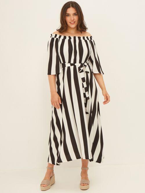 Φόρεμα έξωμο ριγέ με ζώνη