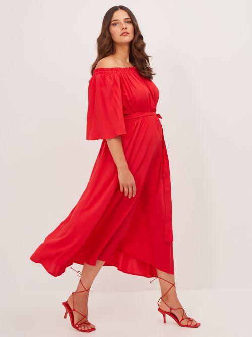 Off-shoulder viscose dress