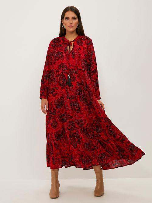Φόρεμα paisley με βολάν