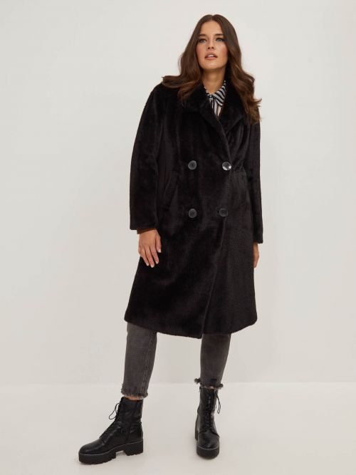 Double breasted faux fur coat