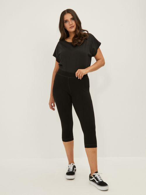 Viscose cropped leggings with elasticated waist