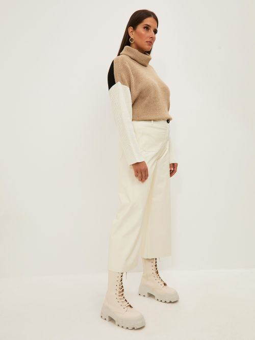 Faux leather wide-leg pants with pockets