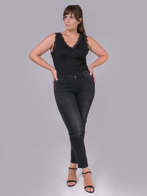 Slim jeans in washed black denim
