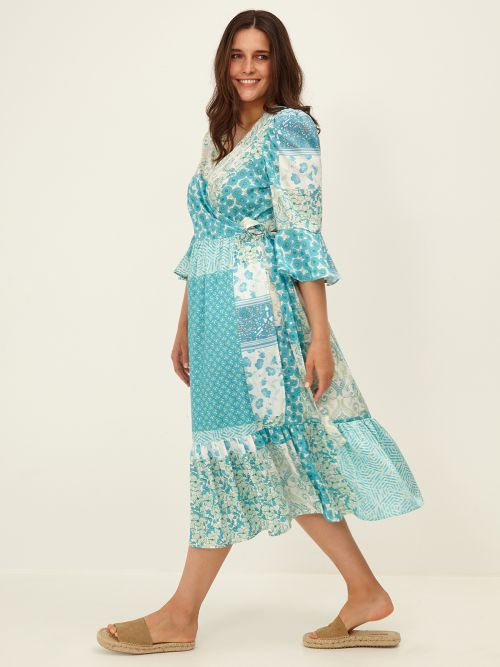 Patchwork-style wrap dress