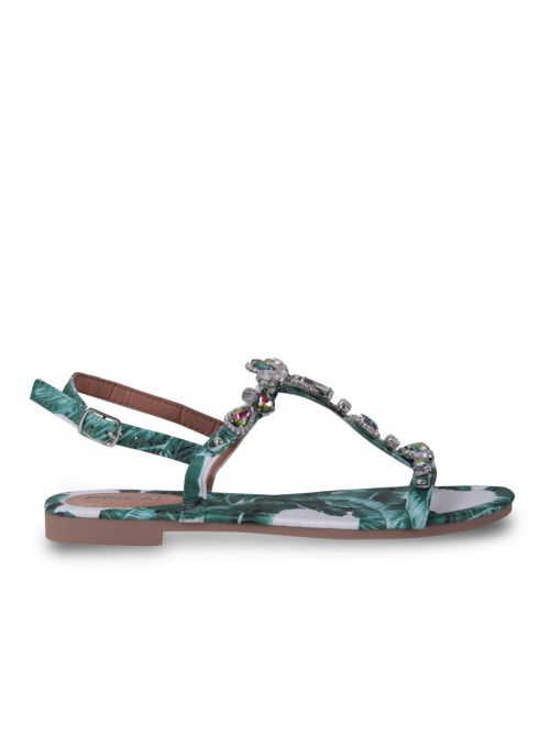Slingback sandals in tropical prints