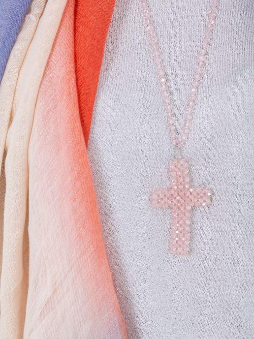 Κολιέ ροζ σταυρός