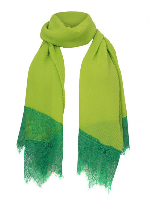 Pleated lace-detailed scarf