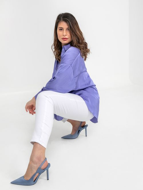 Curved hem satin shirt
