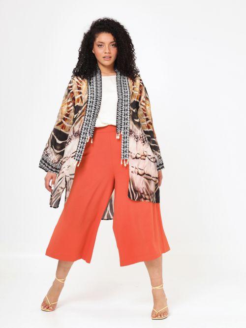 Printed kimono with faux pearl tassel trims