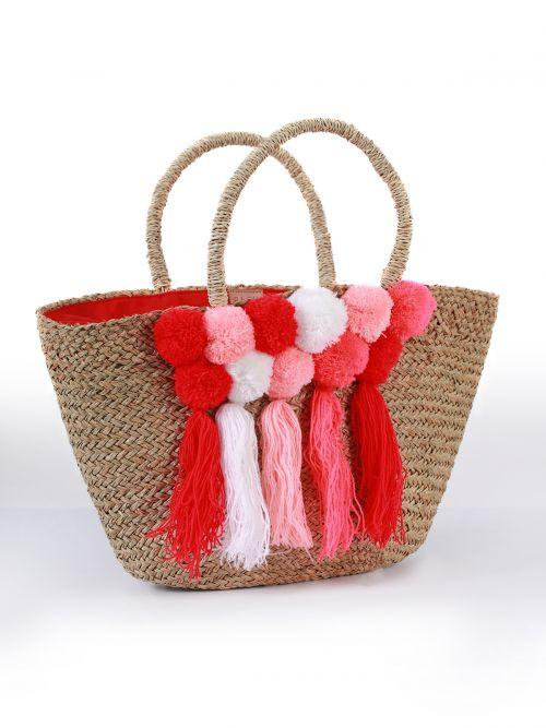 Raffia straw bag with pom pom