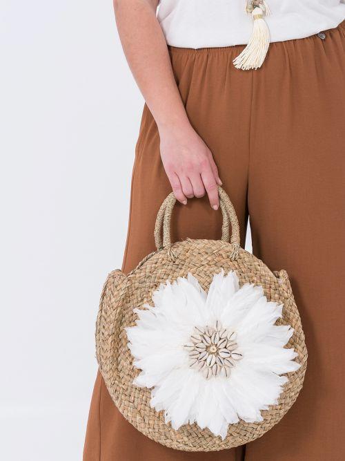 Raffia straw circle bag with feathers & seashells
