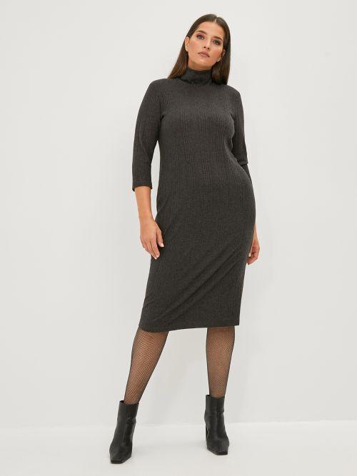 Ribbed turtleneck dress