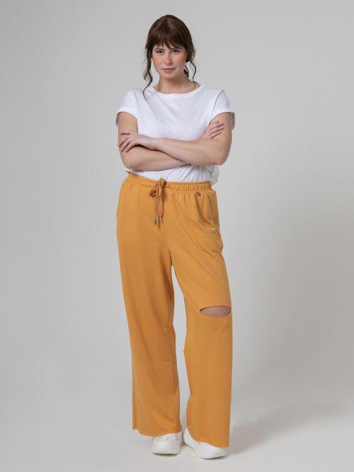 Παντελόνι φούτερ flare με σκίσιμο