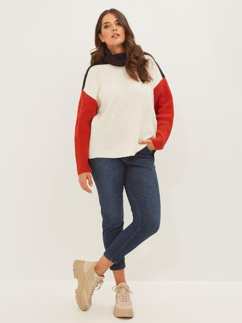Roll neck color-block jumper