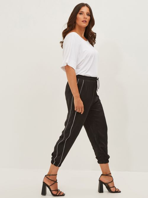 Satin joggers with side stripes