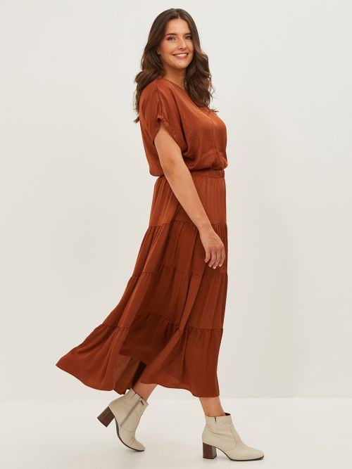 Maxi σατέν φούστα