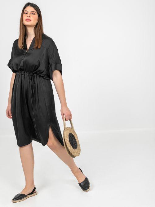 Satin shirt-dress with belted waist