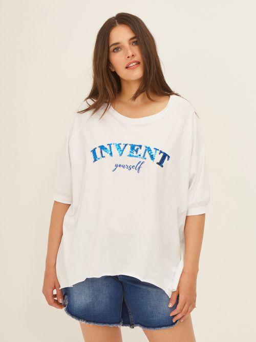 Μπλούζα 'Invent Yourself' με παγιέτες