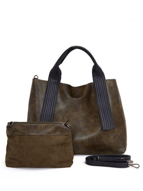 Τσάντα shopper double face με snakeskin μοτίβο