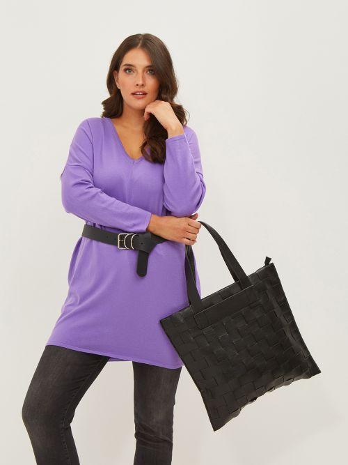 Τσάντα shopper με πλεκτό σχέδιο