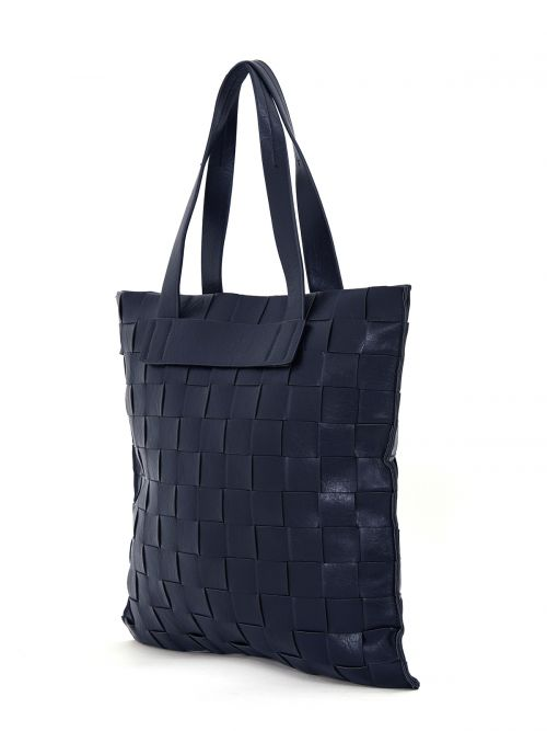 Shopper bag in blue weave
